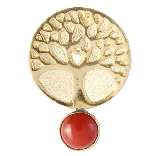 گل سینه برنجی گالری دل آویز طرح درخت زندگی کد 193010